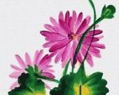 September Aster Birthday Flower Cross Stitch PDF Pattern