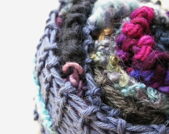 CLEARANCE Fashion Blue - Handspun, handknit scarf