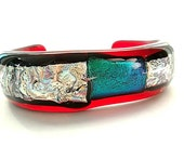 Cuff Bracelet/Dichroic Glass Bracelet/Fused Glass Bracelet/Red, Silver,Teal