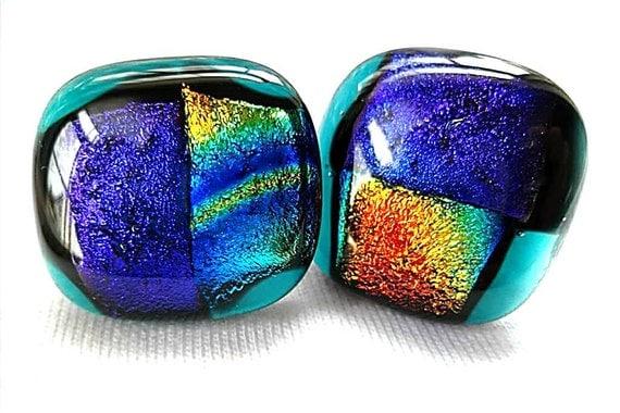 Dichroic Glass Earrings/Earrings/ Fused Glass Earrings/ Post Earrings/Purple, Gold, Green, Blue