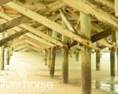 Under the Boardwalk Sandy Beach Pier tan green brown teal sunny 11x14 Fine Art Photography