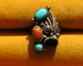 Southwest Sterling Silver Turquoise Multi Stone Leaf Ring
