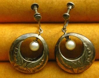 Etched Sterling Silver Pearl Hoop Earrings