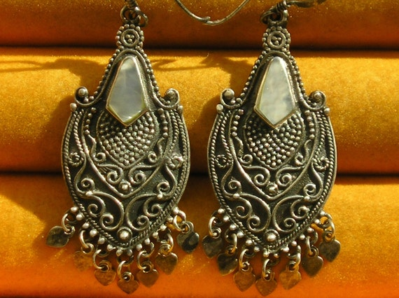 Sterling Silver Filigree Mother of Pearl Inlay Dangle Earrings