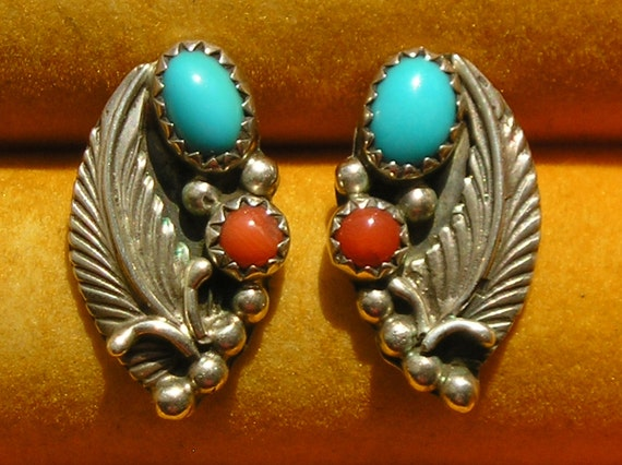 Native American Sterling Silver Turquoise Coral Leaf Earrings