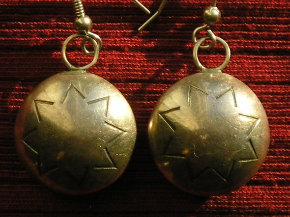 Native American Sterling Silver Stamped Star Bench Bead Dangle Earrings