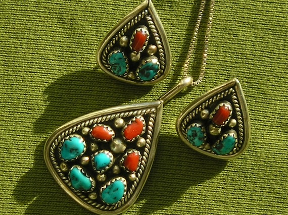 Native American Sterling Silver Turquoise Coral Pendant Necklace and Earrings Set