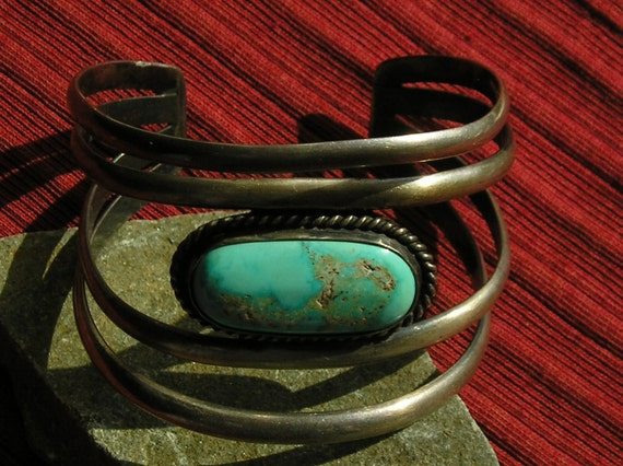 Wide Southwest Sterling Silver Four Band Turquoise Cuff Bracelet