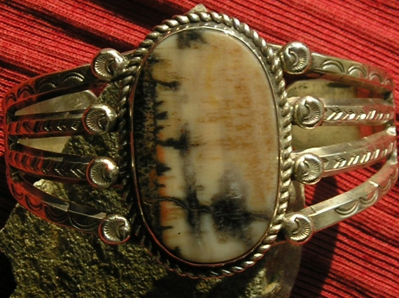 Native American Stamped Sterling Silver Petrified Wood Cuff Bracelet