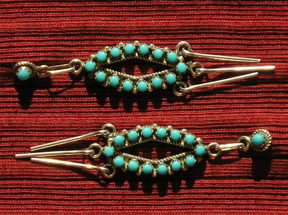 Long Southwest Sterling Silver Petit Point / Snake Eyes Turquoise Dangle Earrings