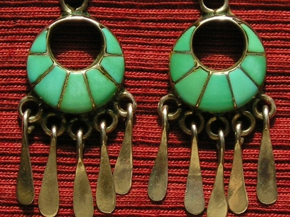 Zuni Sterling Silver Turquoise Inlay Openwork Dangle Earrings