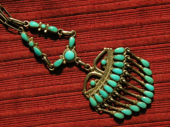 Zuni Sterling Silver Petit Point Turquoise Dangle Necklace