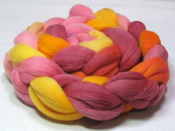 Rambouillet roving hand dyed 4oz yellow, orange, pink, burgandy R1071