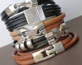 Urban Stacking Leather Cuffs... New His or Hers Leather Cord Wraps