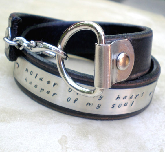 His and Hers... Personalized ID Wrap Cuff... Leather Friends and Lovers Black Leather Bracelet