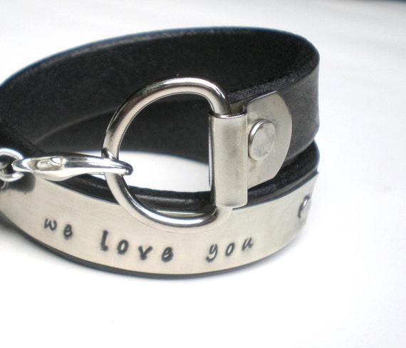 Personalized Leather  Wrap Cuff...His or Hers ...