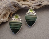 Reserved for Sharon - Green Jasper and Peridot Earrings in Sterling