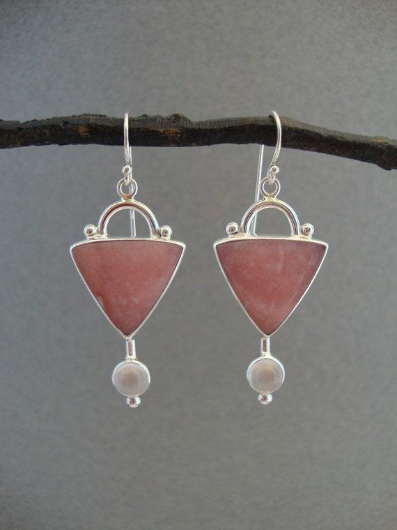 Pink Opal and Moonstone Earrings in Sterling