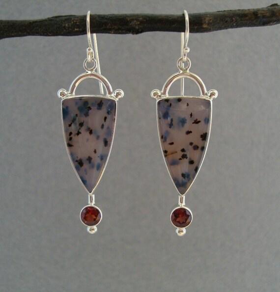 Reserved for Sandra :0)   Montana Agate and Garnet Earrings in Sterling