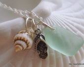 Sea Glass, Shell and Sterling Flip Flop Necklace