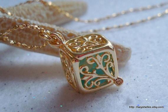 Gold Locket with Aqua Sea Glass