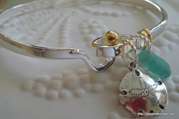 Sea Glass, Sterling Sand Dollar on Sterling Silver Bangle Bracelet