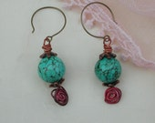 Antique Bronze,  Antique Brass, Turquoise, Pink,  Swirl Headpins Beaded  Earrings  8026