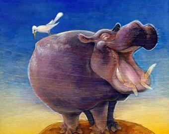 Happy Hippo - PRINT