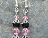 Pretty Pink and Black Earrings