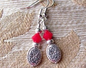 10% OFF Entire Shop Cute Dark Red Coral Earrings