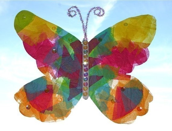 Stained glass butterfly kid kit for Butterfly stained glass craft