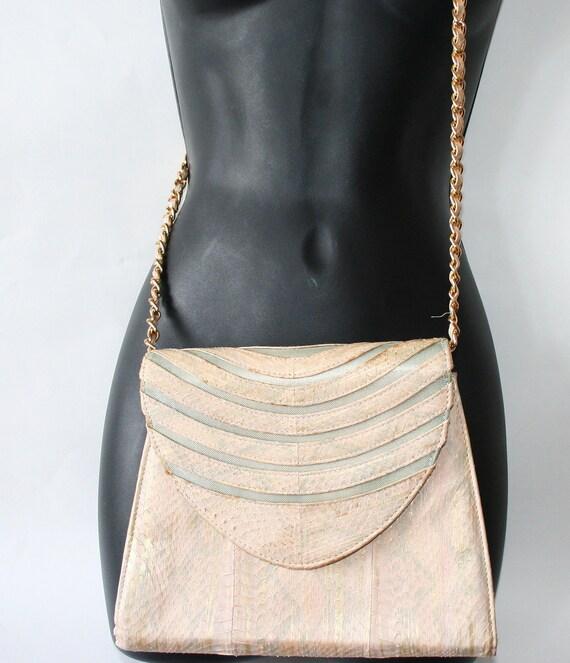 Reserved Vintage J Renee Pink Python Crossbody Handbag