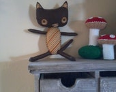 Little Chocolate Kitty with organic wool body and cotton tummy