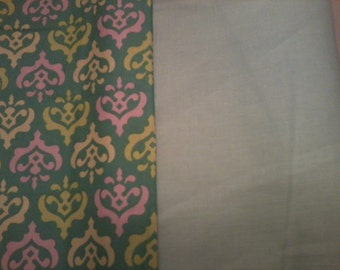 Pink and Green Damask with Vintage Cotton Fabric Scrap pack