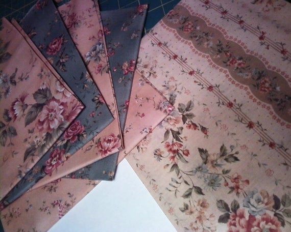 Fat Quarters in Antique Flower Collection by Lecien