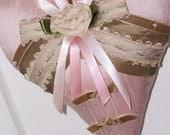 Soft pink silk heart ring bearer pillow