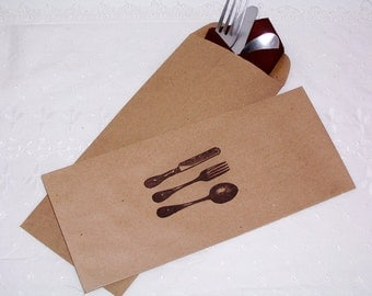 100 Kraft brown stamped silverware envelopes