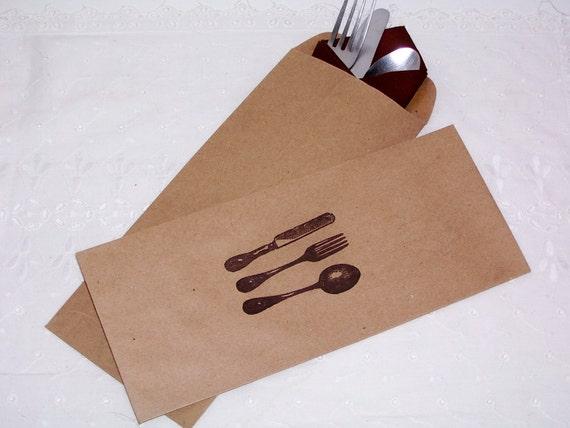 Custom order for Colette 200 Kraft brown Napkin/silverware holder