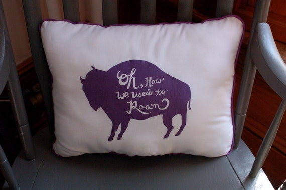 Lonely Buffalo Pillow purple and white