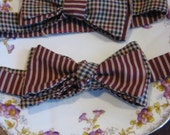 RESERVED FOR anomaly140:  Maroon Stripe & Khaki Multi Colored Plaid Bow Tie