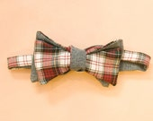White and Red Tartan Plaid with Grey Bow Tie