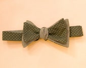 Olive Green Polka Dot with Brown Tan Stripes Bow Tie