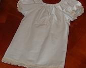 LACE TRIM PEASANT Dress-Creme on White