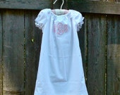 LACE TRIM PEASANT Dress-White with Pink