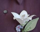 Elegant Paper Boutonniere - White Flower