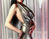 Mini Cowl Neck Latex Dress