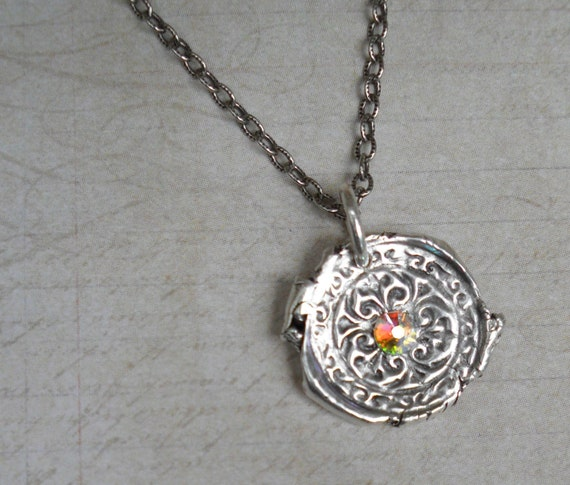 Celtic Fine Silver Wax Seal Charm with Swarovski Crystal Center Includes Sterling Silver Chain