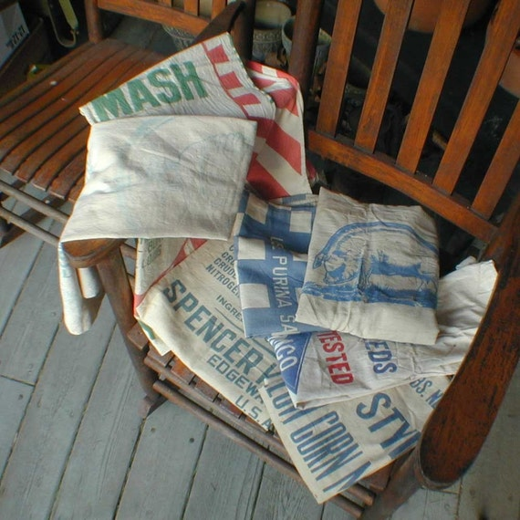 Vintage 100lb Cloth Feed Sack Spencer KELLOGG'S Linseed Oil Meal From the Barn