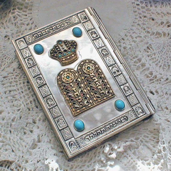 1961 Silver Jewish Siddur Prayer Book Jeweled And Enamel
