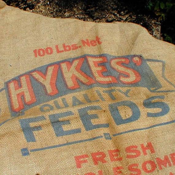 Burlap Feed Sack 100lb Red Blue Hykes